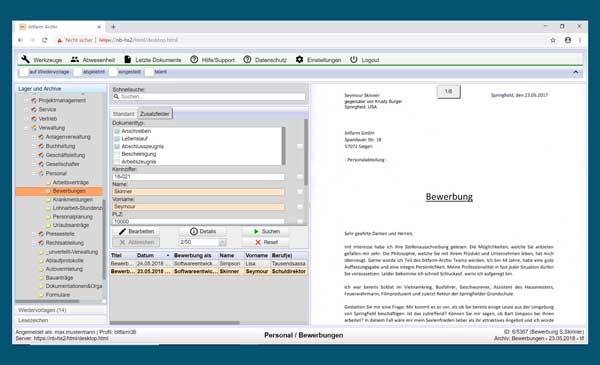 Screenshot btfarm-Archiv Enterprise 3.6.1